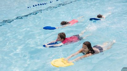 poly summer campers swim instruction